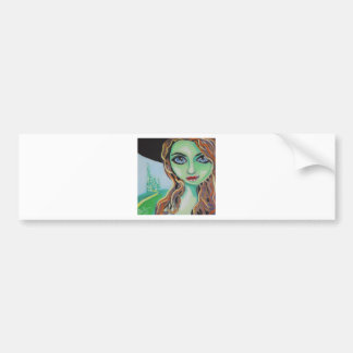 大きい青い目ゴードンブルースを持つ緑の顔の魔法使い バンパーステッカー