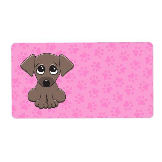 大きい頼むことを用いるかわいい茶色の小犬は注目します ラベル