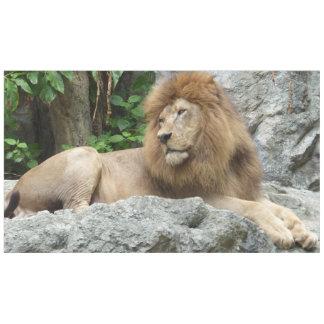 大きい鬣を搭載する茶色のオスのライオンは石の棚に置きます テーブルクロス