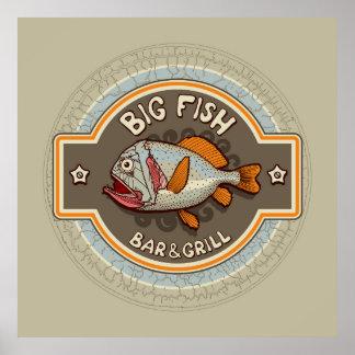 大きい魚のバー兼グリルポスター ポスター