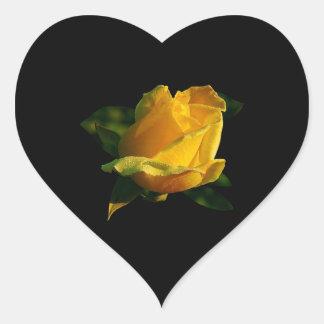 大きい黄色バラ ハートシール