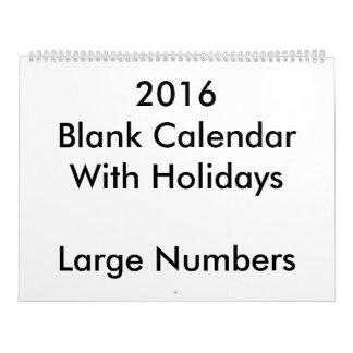 大きい2016の空白のなカレンダーの休日大きい数 カレンダー