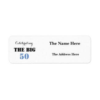 大きい50誕生日-差出人住所--を祝います 返信用宛名ラベル