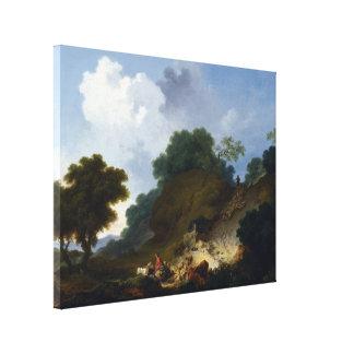 大きいFragonard著羊飼いとの景色 キャンバスプリント