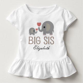 大きいSisの女の子かわいい象の名前入りなTシャツ トドラーTシャツ