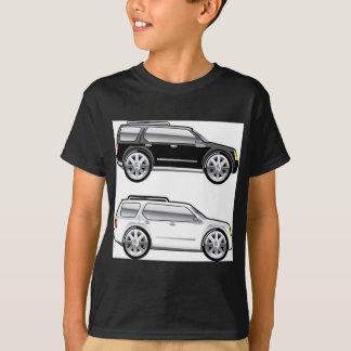 大きいSUVは大きいクロム縁のベクトルと様式化しました Tシャツ