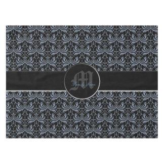 大きくはっきりしたなダマスク織(煙の青) テーブルクロス