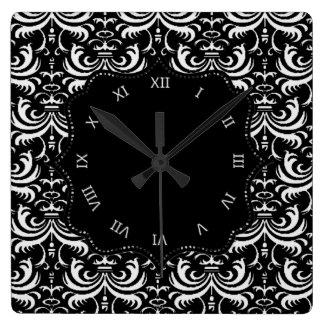 大きくはっきりしたなダマスク織(白い) スクエア壁時計