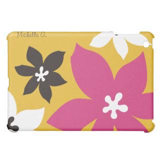 大きくモダンな花の名前入りで黄色いピンク iPad MINI CASE