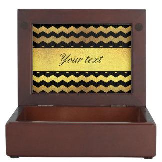 大きく模造のな金ゴールドホイルの黒のシェブロン ジュエリーボックス