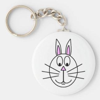 大きく白いウサギの漫画のスケッチ キーホルダー