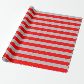 大きく赤いおよび灰色のストライプの包装紙 ラッピングペーパー