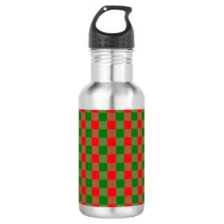 大きく赤いおよび緑のクリスマスのギンガムの点検のタータンチェック ウォーターボトル