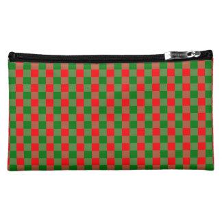 大きく赤いおよび緑のクリスマスのギンガムの点検のタータンチェック コスメティックバッグ