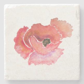 大きく赤いケシの花の水彩画 ストーンコースター