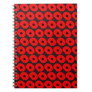 大きく赤いケシの花模様 ノートブック