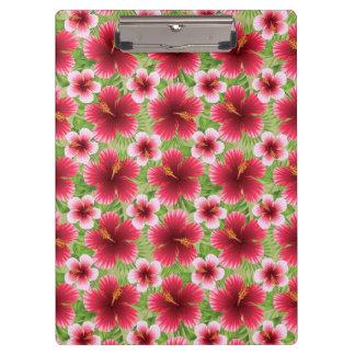 大きく赤いピンクのハイビスカスの花 クリップボード
