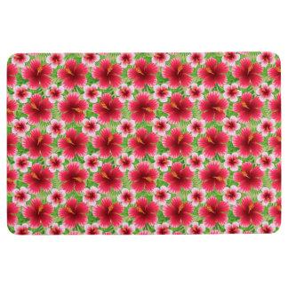 大きく赤いピンクのハイビスカスの花 フロアマット
