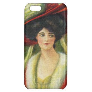 大きく赤い帽子ヴィンテージの美しい女性 iPhone5Cケース