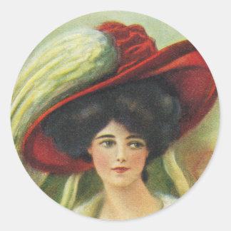 大きく赤い帽子 ラウンドシール