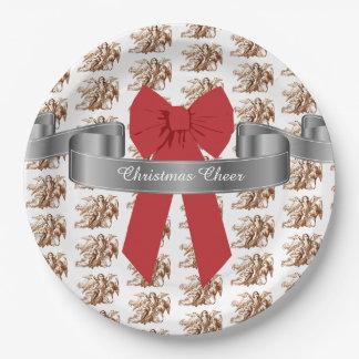 大きく赤い弓および天使のクリスマスの応援 ペーパープレート