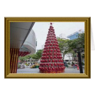 大きく赤い球-クリスマスツリー カード
