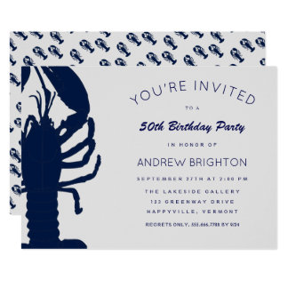 大きく青いロブスター彼の誕生日のパーティの招待状 12.7 X 17.8 インビテーションカード