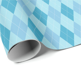 大きく青い調子のアーガイル柄のな包装紙 ラッピングペーパー
