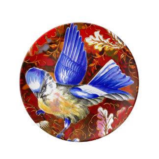 大きく青い鳥のヴィンテージの芸術 磁器プレート