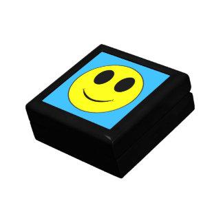 大きく黄色いスマイリーフェイスの青いライトジュエリー箱 ギフトボックス