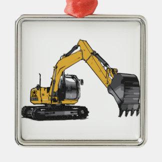大きく黄色い掘削機 メタルオーナメント