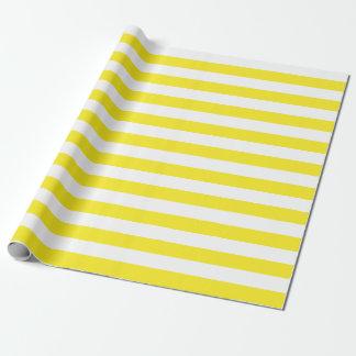 大きく黄色および白のストライプの包装紙 ラッピングペーパー
