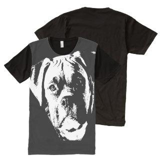 大きく、大きい犬 オールオーバープリントT シャツ