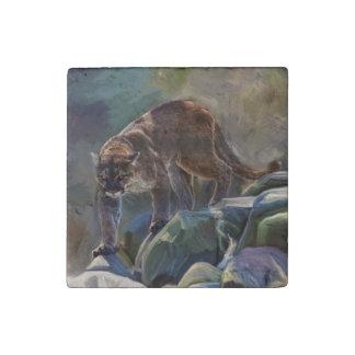 大きな猫のクーガー、ピューマの野性生物の写真のポートレート1 ストーンマグネット