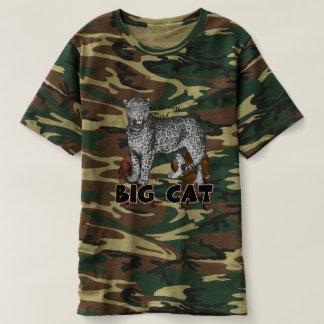 大きな猫のヒョウの人のカムフラージュのTシャツ Tシャツ