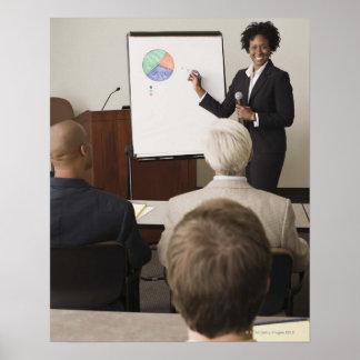 大人にクラスを教えている女性 ポスター