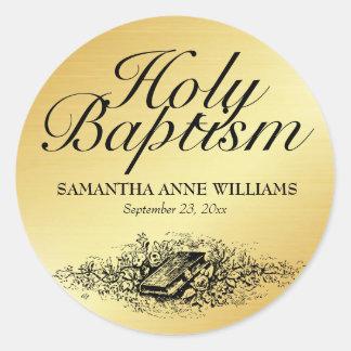 大人のための聖書が付いている金ゴールドの洗礼のステッカーのシール、 ラウンドシール