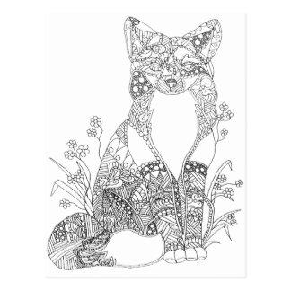 大人の着色のキツネ動物の芸術 ポストカード