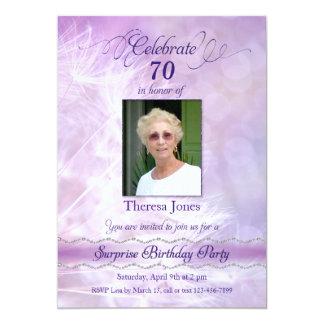 大人の驚きの誕生会の写真の招待状 カード