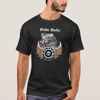 """大人の""""乗車の安全な"""" Tシャツ、バイクもしくは自転車に乗る人は動物の©です Tシャツ"""