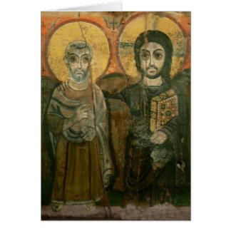 大修道院長のコプトアイコンを持つイエス・キリスト カード