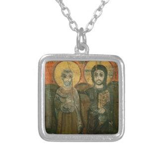 大修道院長のコプトアイコンを持つイエス・キリスト シルバープレートネックレス