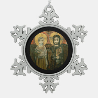 大修道院長のコプトアイコンを持つイエス・キリスト スノーフレークピューターオーナメント