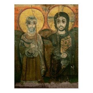 大修道院長のコプトアイコンを持つイエス・キリスト ポストカード