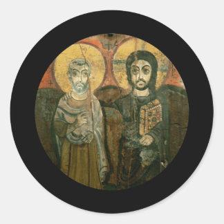 大修道院長のコプトアイコンを持つイエス・キリスト ラウンドシール
