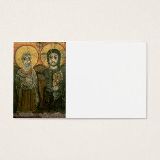 大修道院長のコプトアイコンを持つイエス・キリスト 名刺