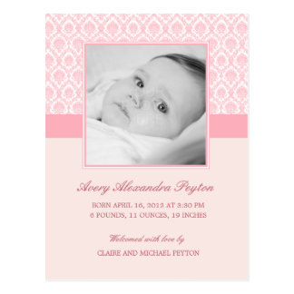 大切なダマスク織の女の赤ちゃんの誕生の発表 ポストカード