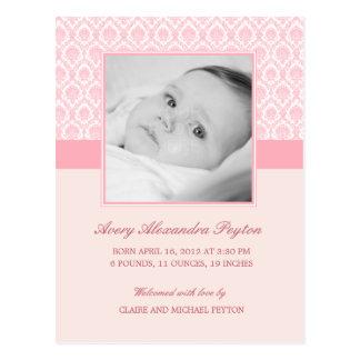 大切なダマスク織の女の赤ちゃんの誕生の発表 葉書き