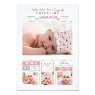 大切な到着のピンクの写真の誕生の発表 カード