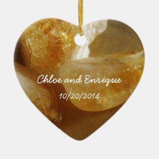 大切な宝石用原石の写真の名前入りな結婚式 セラミックオーナメント